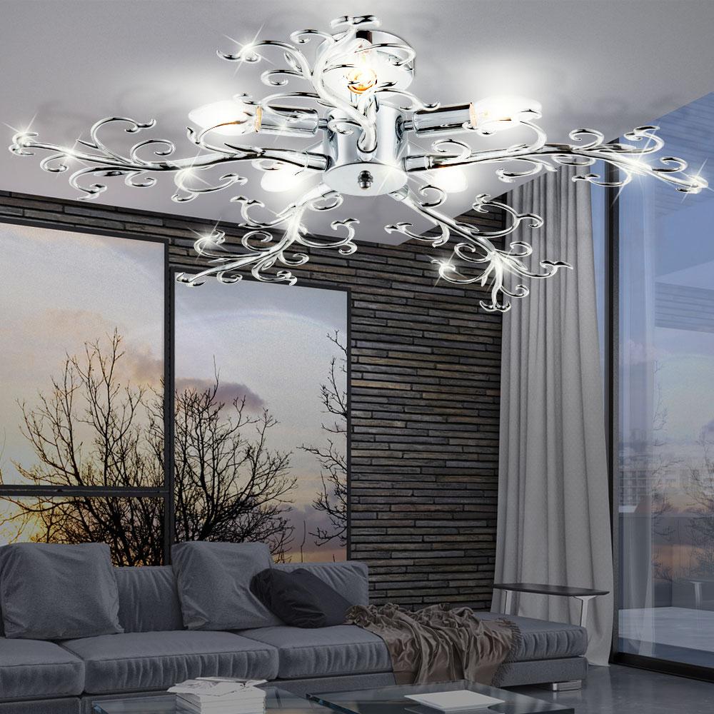 Led deckenleuchte chrom ste design deckenlampe floral for Design deckenlampe