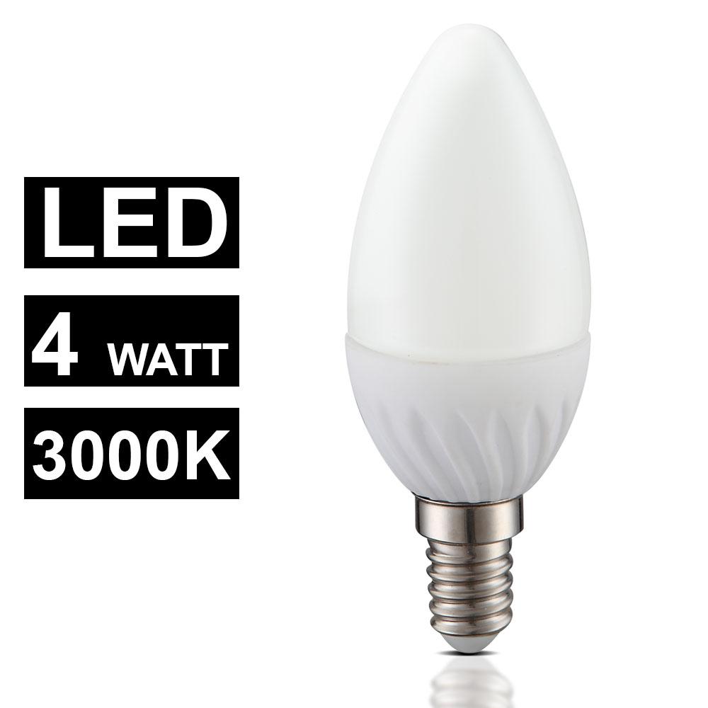 E14 LED Leuchtmittel 4 Watt Lampe 320 Lumen Kerze EEK A Leuchte 3000 Kelvin
