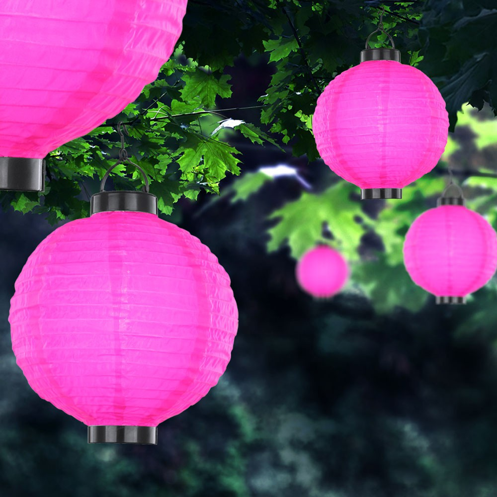 solar lampion garten party au en leuchte pink led veranda laterne beleuchtung ebay. Black Bedroom Furniture Sets. Home Design Ideas