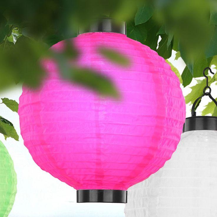 Solar Lampion Garten Party Außen Leuchte pink LED Veranda Beleuchtung Globo 33970P – Bild 2