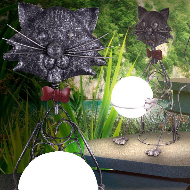 LED Solar Steh Stand Lampe Außenbereich Katze Deko Figur Leuchte IP44 Globo 33306 – Bild 2