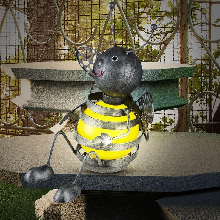 LED Solar Biene Leuchte Außen Bereich Figur Strahler IP44 Akku Balkon Lampe Globo 33407 – Bild 2