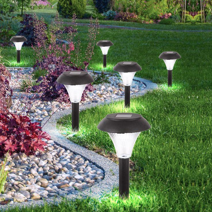 6er Set LED Solar Steckleuchten in schwarz, Höhe 30 cm – Bild 4