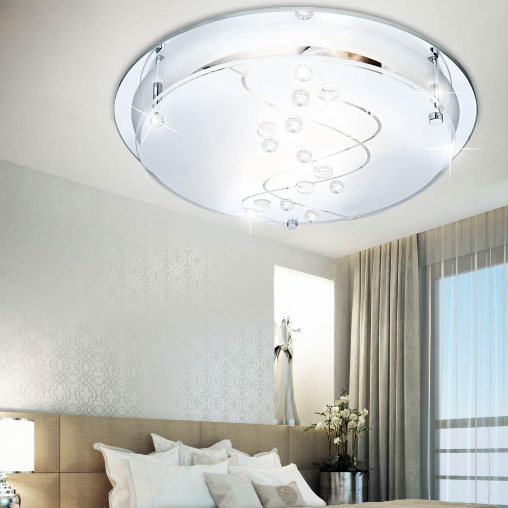 decken lampe wohnzimmer glas spiegel flur bad leuchte esszimmer beleuchtung rund ebay. Black Bedroom Furniture Sets. Home Design Ideas