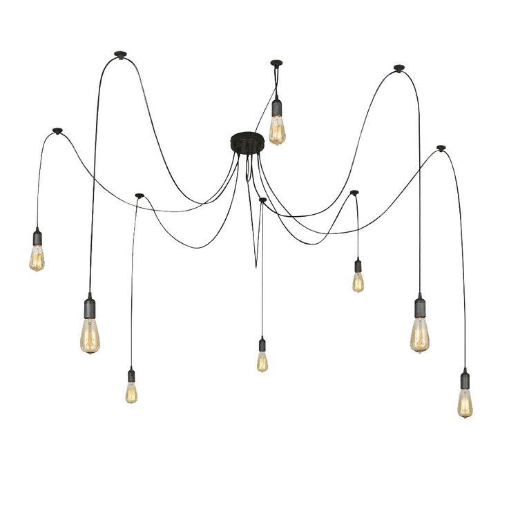 Aufhängung in Schwarz mit 8 Lampen für den Wohnraum MARACANA – Bild 1