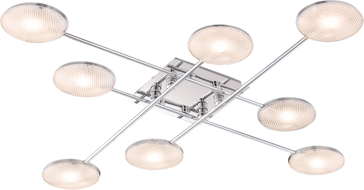 Elegant LED ceiling lamp in nickel matte aluminum Globo TINA 56184-8, chorm, – Bild 2