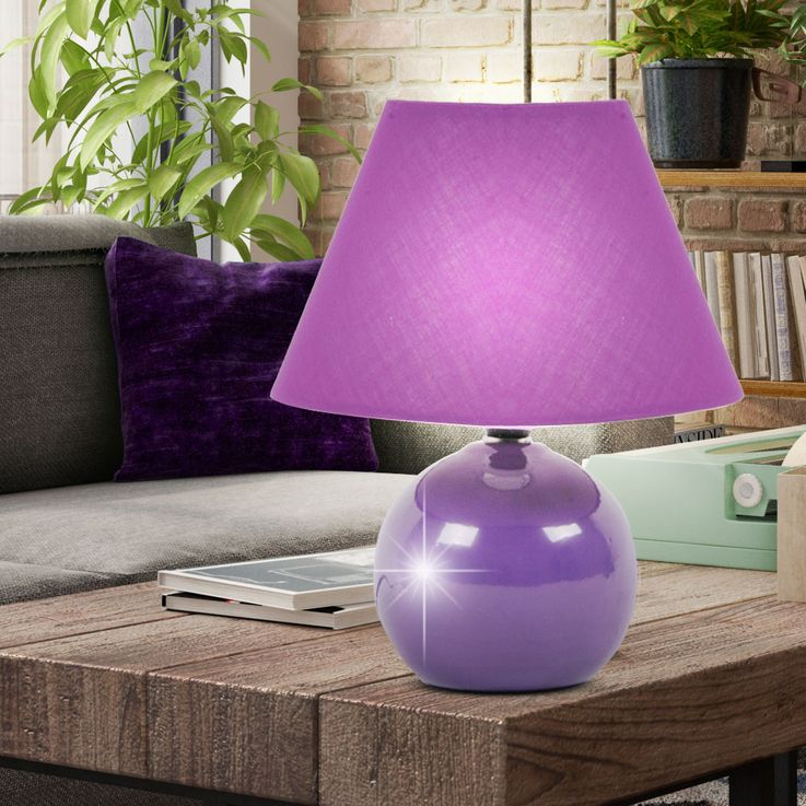 Table Lamp Reading Beistell Lamp Ceramic Purple Switch  Brilliant PRIMO 61047/78 – Bild 3