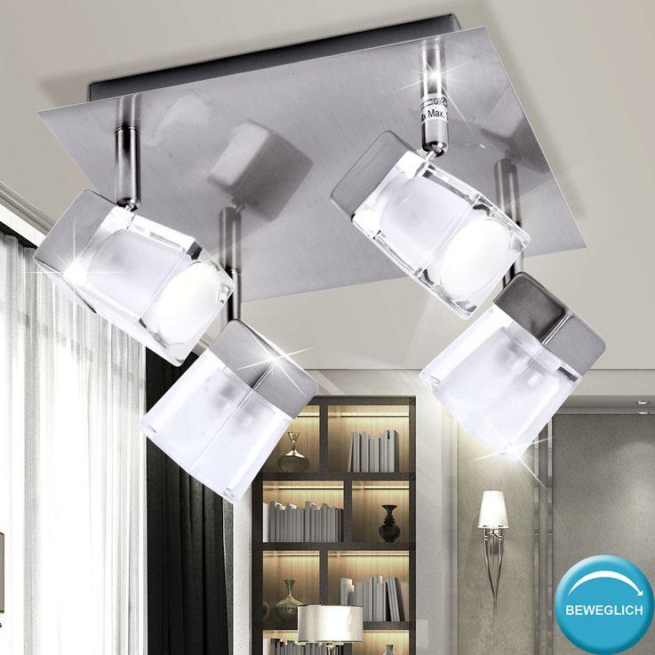 Plafonnier métal verre spots mobiles cube en glace salle de séjour couloir chambre éclairage – Bild 3
