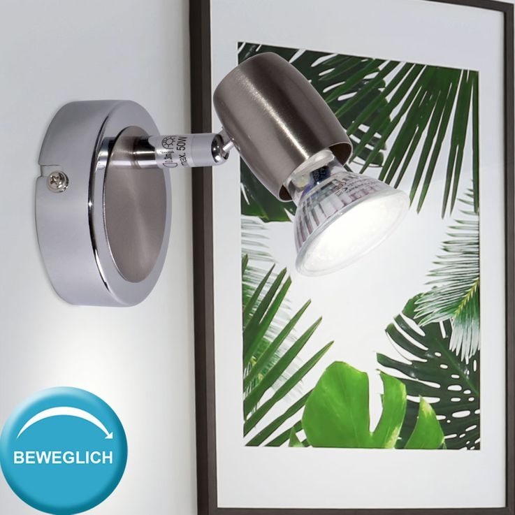 Design wall lamp spotlight chrome-plated Spot swiveling lighting silver lamp  Brilliant G55010 / 77 – Bild 2