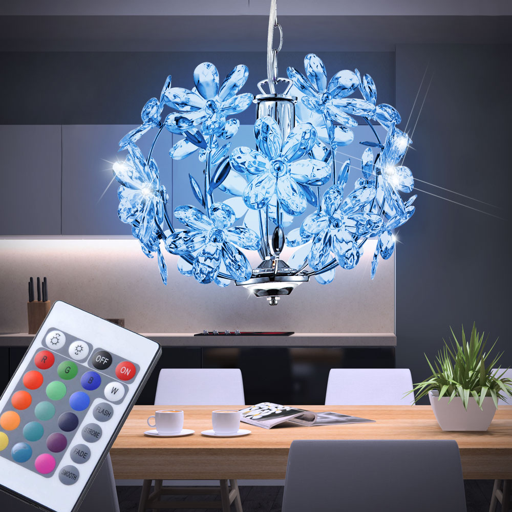 led rgb 7 watt lampe suspendue lustre changeur de couleur t lecommand hauteur ebay. Black Bedroom Furniture Sets. Home Design Ideas