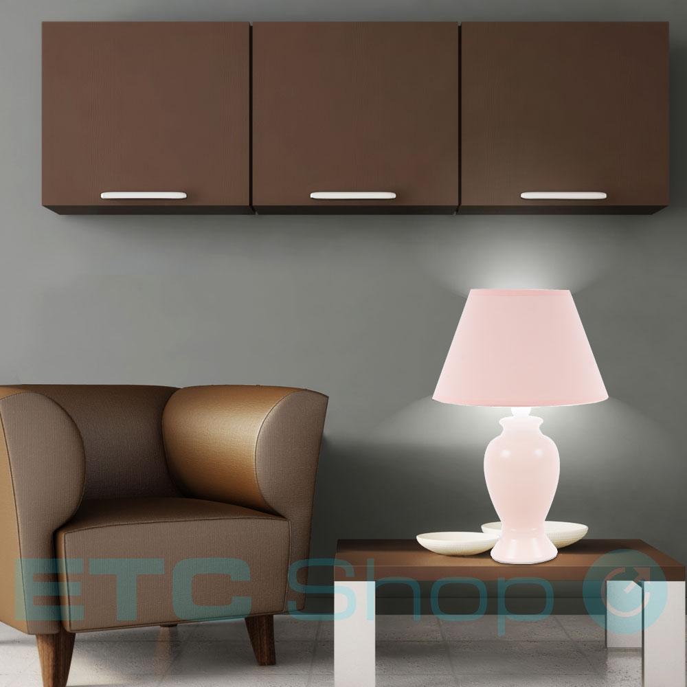 tisch lampe wohn zimmer keramik kabel schalter b ro lese leuchte pfirsich farbe ebay. Black Bedroom Furniture Sets. Home Design Ideas