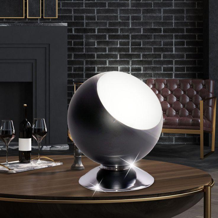 Kugel Tischlampe in schwarz und weiß, Höhe 17,5 cm, MAGALI – Bild 2