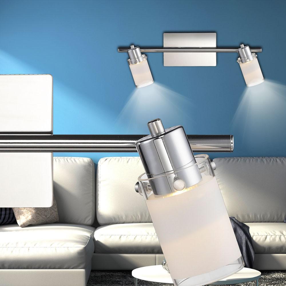 2er Set COB LED Wand Spots Lampe drehbar Wohn Ess Zimmer Glas Dekor Chrom 4,2W