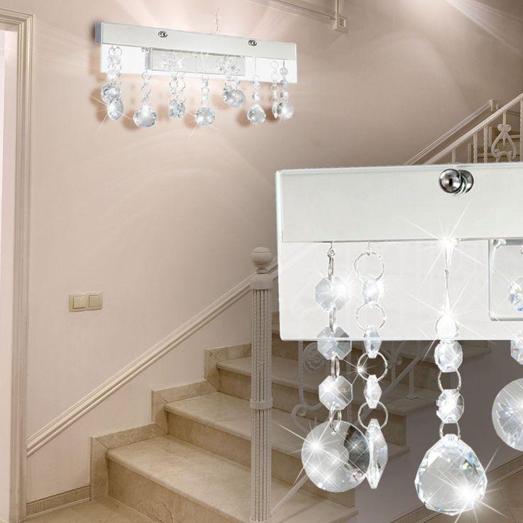 Elegante LED Wandleuchte aus Chrom und Kristallglas – Bild 3