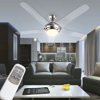 Cover fan with LED 20W lighting remote control 3-stage wings transparent Globo 0344 – Bild 3