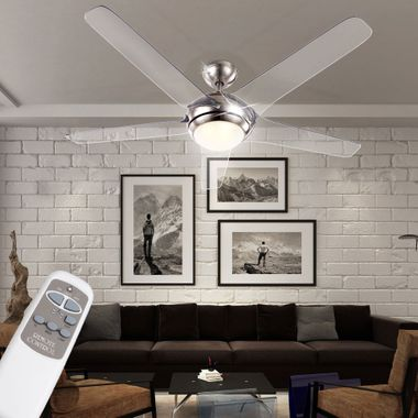Cover fan with LED 20W lighting remote control 3-stage wings transparent Globo 0344 – Bild 2