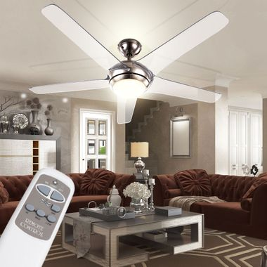 Cover fan with LED 20W lighting remote control 3-stage wings transparent Globo 0344 – Bild 4