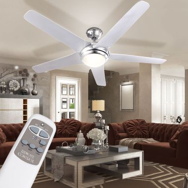Ceiling fan with LED 20W lighting remote control 3-level wing chrome white  Globo 0345 – Bild 4