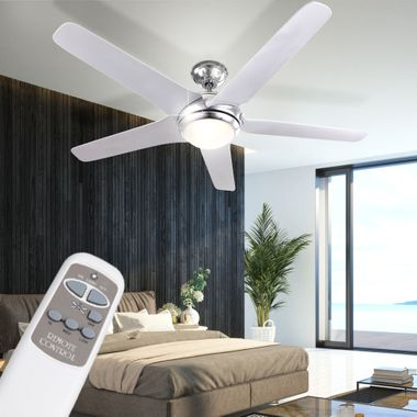 Ceiling fan with LED 20W lighting remote control 3-level wing chrome white  Globo 0345 – Bild 3