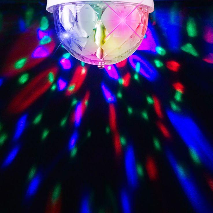 Rotierendes RGB LED Disco Leuchtmittel mit E27 Sockel – Bild 4