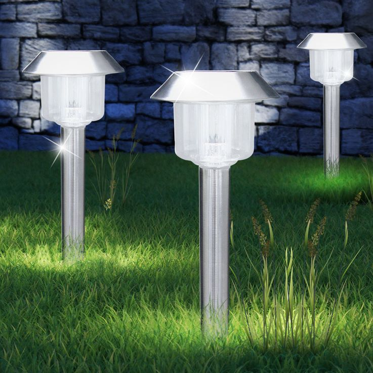 Set of 3 LED Solar Plug Lamps Outdoor Lanterns Stainless Steel Lamps Globo 3324-3 – Bild 6