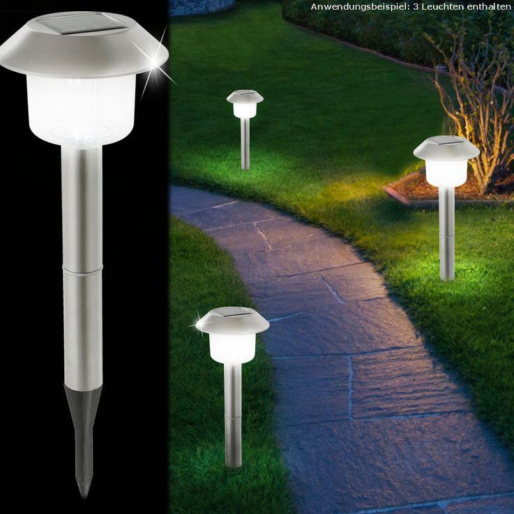3er Set LED Solar Leuchten Steck Lampen Lichter Laternen Außen Beleuchtungen Edelstahl Globo 33240-3 – Bild 2