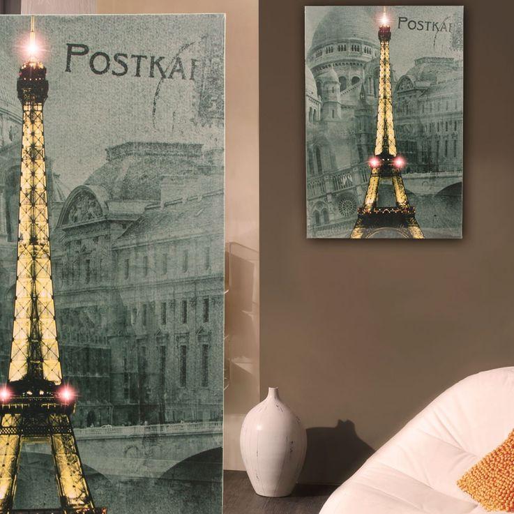 Applique DEL luminaire mural tableau tour Eiffel Paris lampes image peinture LED – Bild 2
