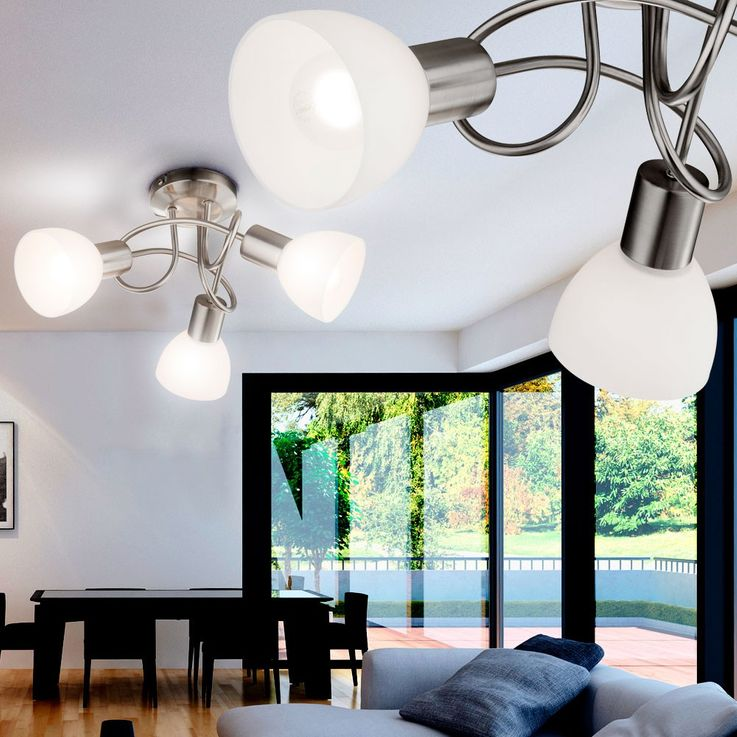 Design ceiling lamp lamp light lighting nickel-matt glass opal Globo 54918-3 – Bild 7