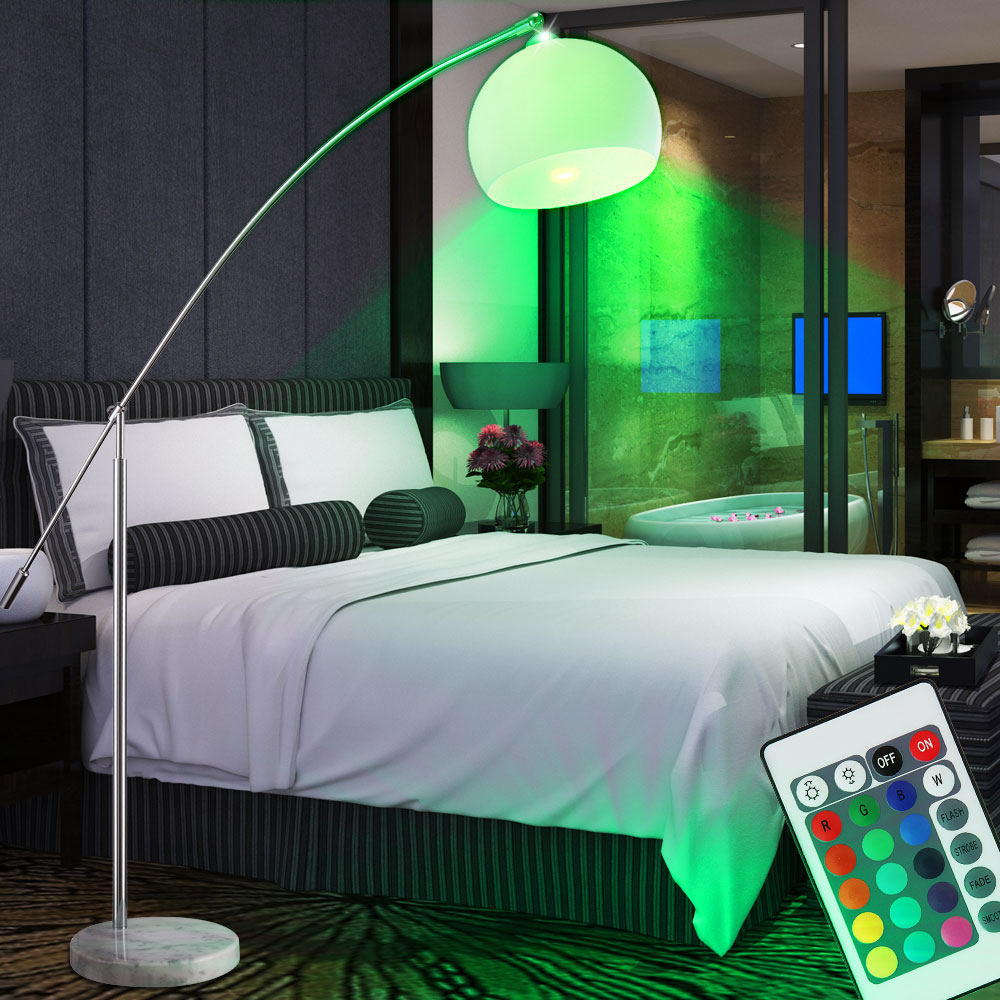 stand lampe led lese steh bogen leuchte rgb farbwechsel wei halb kugel dimmer ebay. Black Bedroom Furniture Sets. Home Design Ideas