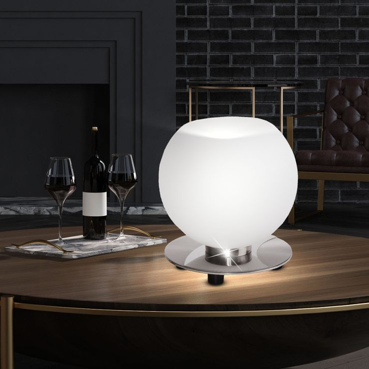 Design Table Lamp Living Sleep Room Glass Sphere Night Light Fixture White  Brilliant 15647/13 – Bild 2