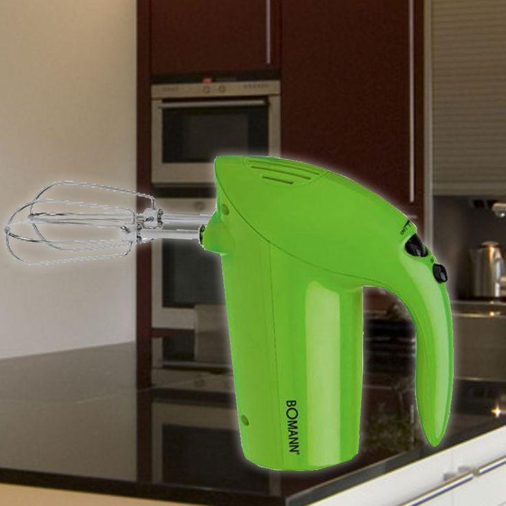 250 Watt Handmixer Edelstahl Küchen Haushalt Quirl Knethaken Mixen Bomann HM 350 Grün – Bild 2