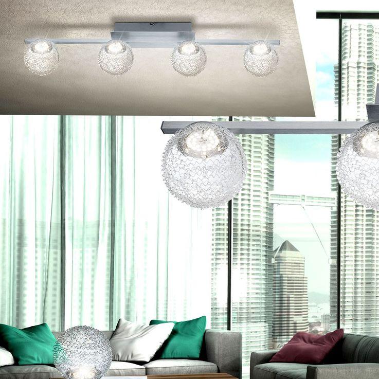 LED 20 Watt Decken Strahler Spot Lampe Kugelgeflecht silber Flur Beleuchtung 4-flg Globo 56962-4 – Bild 3