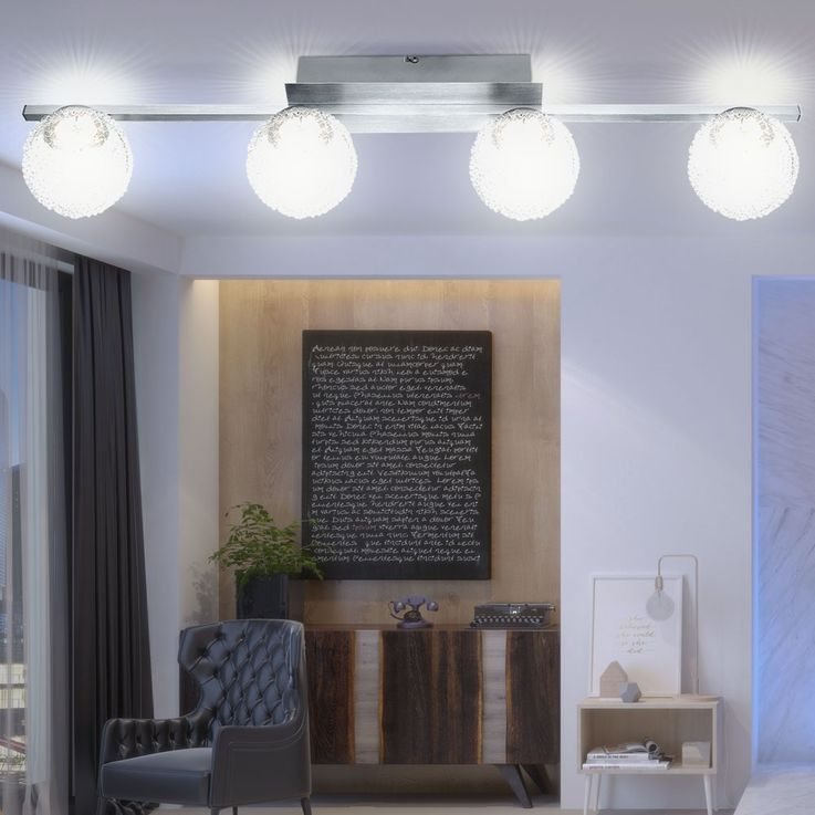 LED 20 Watt Decken Strahler Spot Lampe Kugelgeflecht silber Flur Beleuchtung 4-flg Globo 56962-4 – Bild 2
