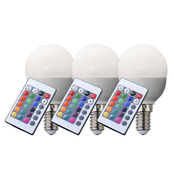 Set of 3 RGB LED E14 bulbs 4 Watt incandescent bulb lamp dimmable  Globo 106750 – Bild 1