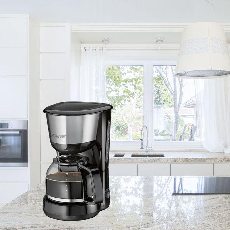 1000 Watt Kaffeemaschine Edelstahleinlage Filterkaffee Bomann KA 1580 CB Schwarz Inox – Bild 3