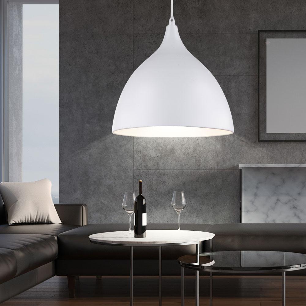 suspension luminaire plafond m tal blanc e27 salle de s jour siebenbach. Black Bedroom Furniture Sets. Home Design Ideas