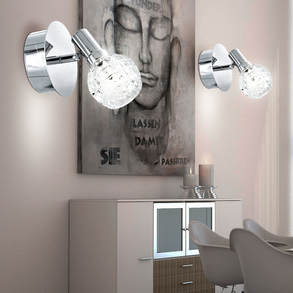 2er set 5w led wand leuchte badezimmer spot spiegel lampe glas kugel beleuchtung ebay. Black Bedroom Furniture Sets. Home Design Ideas