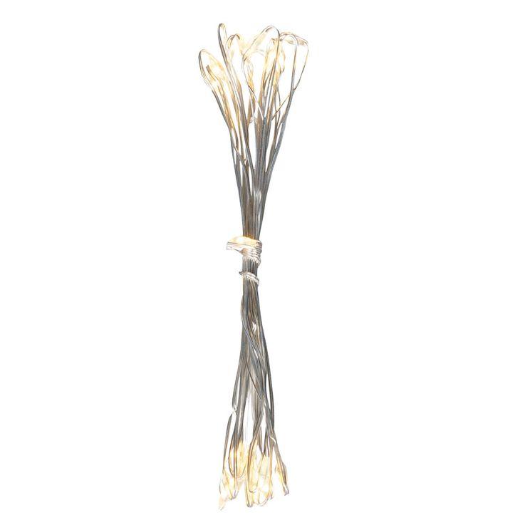 20x LED Lichter Kette Weihnachts Advents Beleuchtung X-MAS Kupfer Deko Lampe silber Globo 29950-20 – Bild 2