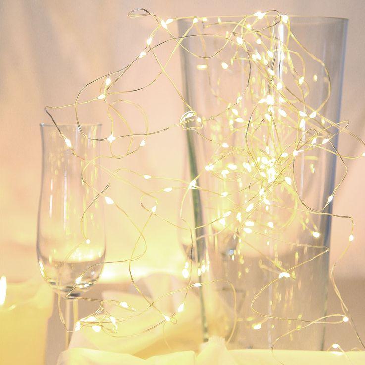 20x LED Lichter Kette Weihnachts Advents Beleuchtung X-MAS Kupfer Deko Lampe silber Globo 29950-20 – Bild 1