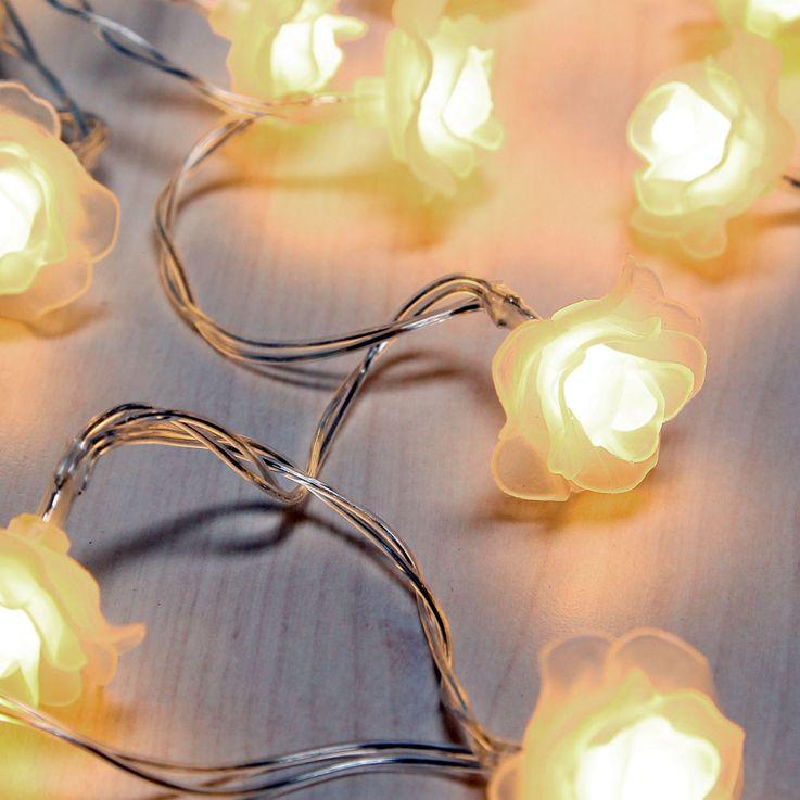 20x LED Lichter Ketten Rosen Blüten Weihnachts Deko Beleuchtung Batterie Lampen weiß Globo 29952-20 – Bild 1