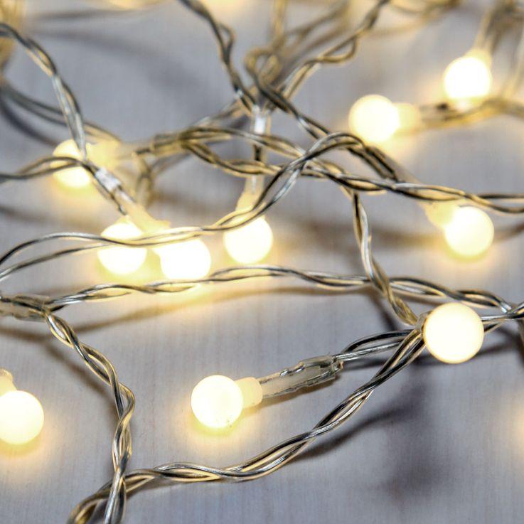 50x LED Lichterkette, Kugeln weiß, Länge 520 cm, VENUTO – Bild 1