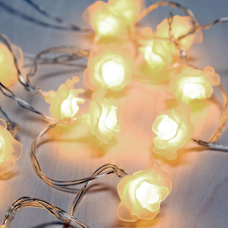 30x LED fairy lights, rose petals, white, L 494 cm, VENUTO – Bild 1