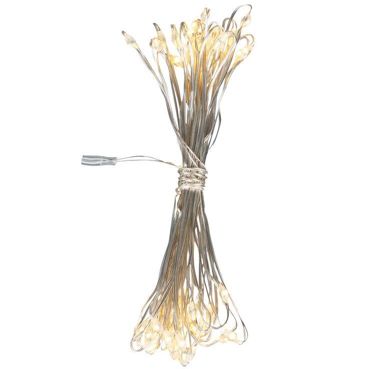 50x LED Lichter Kette Weihnachts Deko Beleuchtung Kupfer X-MAS Advents Lampe silber Globo 29950-50 – Bild 2