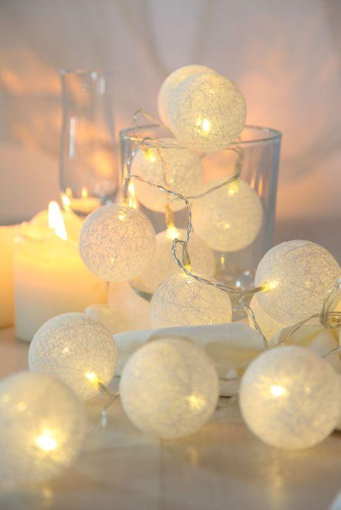 20er LED Lichterkette Geflecht Kugel Weihnachts Lampen Baumwolle X-MAS Deko weiß Globo 29955-20 – Bild 4