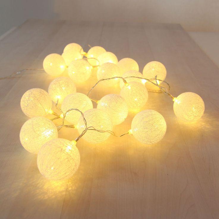 20er LED Lichterkette Geflecht Kugel Weihnachts Lampen Baumwolle X-MAS Deko weiß Globo 29955-20 – Bild 3