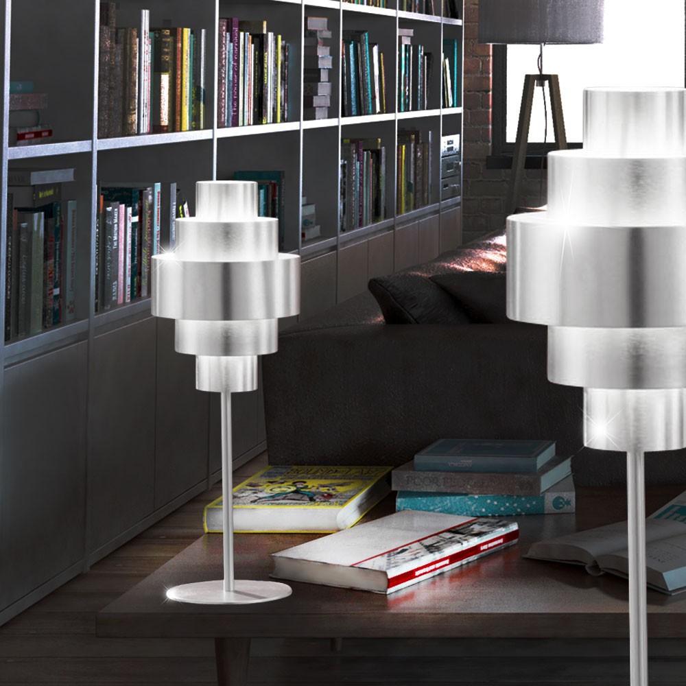 2er set alu tisch lampen steh leuchten wohnzimmer beleuchtung nacht lichter e27 ebay. Black Bedroom Furniture Sets. Home Design Ideas