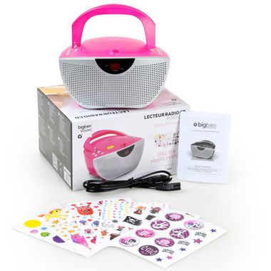 Tragbarer CD-Player Musik Stereo Anlage Sound Hi-Fi Boombox Radio pink BigBen CD55 Kids – Bild 8