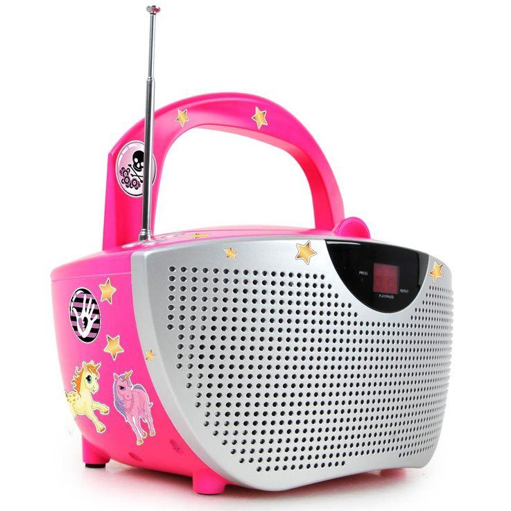 Portable CD player music stereo system sound Hi-fi boombox radio pink BigBen CD55 kids – Bild 1