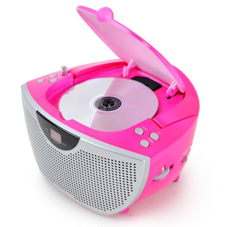 Portable CD player music stereo system sound Hi-fi boombox radio pink BigBen CD55 kids – Bild 5