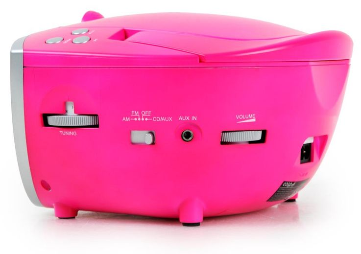 Portable CD player music stereo system sound Hi-fi boombox radio pink BigBen CD55 kids – Bild 6